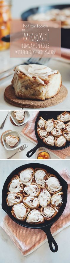 vegan cinnamon rolls with spiced whiskey peaches and vanilla frosting | RECIPE on hotforfoodblog.com