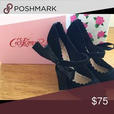 "Cece L'amour Heel (black suede) Black suede peep toe heel. 4"" heel. Mary Jane strap ties into a bow. Adorable on. Like new! Only worn twice! Will ship in original box. NOT Stuart Weitzman - only exposure. Stuart Weitzman Shoes Heels"
