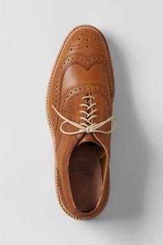 The thick cotton laces help this Oxford look casual. (McTavish wingtips by Allen Edmonds) Tan Shoes, Me Too Shoes, Oxford Shoes, Dress Shoes, Sharp Dressed Man, Well Dressed Men, High End Shoes, Best Shoes For Men, Allen Edmonds