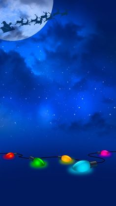 Santa Christmas lights night flight