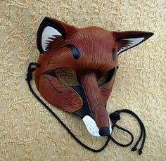 Red Fox Mask ...handmade leather fox mask