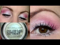 Eyeshadow Tutorial   Iridescent Pink Eyes + Dramatic Lashes   Waves of White Maybelline Color Tattoo