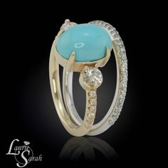 Turquoise and Diamond Engagement Ring with Diamond Wedding Band-LS3839