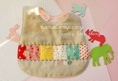linen and patchwork baby bib by nana company Sewing Projects For Kids, Sewing For Kids, Sewing Crafts, Sewing Ideas, Crochet Baby Bibs, Cute Baby Gifts, Patchwork Baby, Baby Boutique, Fabric Scraps