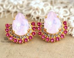 Blush Pink EarringsBlush Swarovski Crystal StudsBridal by iloniti