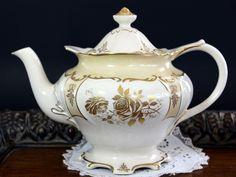 Vintage Sadler Tea Pot, Golden Roses on Antique White Porcelain, Ornately Shaped Teapot 13208