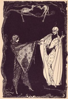 A 1960 edition of Goethe's Faust. Harry Clarke was an Irish artist who was known for his book illustrations and stained glass creations. Important figure in the Arts and Crafts movement and was heavily influenced by Art Nouveau and Art Deco Harry Clarke, Art And Illustration, Black And White Illustration, Book Illustrations, Faust Goethe, Goethe's Faust, Art Nouveau, Aubrey Beardsley, Irish Art