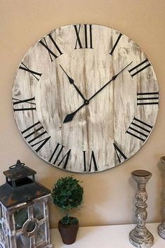 "This would be adorable in the Great Room! 30"" Farmhouse Clock, Oversized Clock, Wall Decor, Rustic Clock, Large Wooden Clock, Farmhouse Decor, Home Decor #farmhousedecor #ad #farmhousestyle #rusticdecor #oldclock"