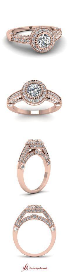 Round Cut Diamond Milgrain Rings with White Diamonds in Rose Gold