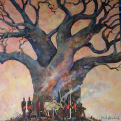 Fred Gowland's Baobab Tree with Maasai Oil on Canvas - held by a private Singapore Collector