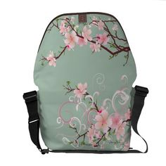 Japanese Pink Blossoms  Rickshaw Messenger Bag - it is $116 before shipping but I want it!!!