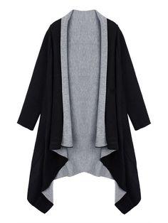 Ruffles Asymmetrical Casual Loose Solid Long Sleeve Lapel Knit Cardigan