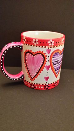 Hand Painted Heart Cup, Front View By Kimberley Holland