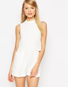 Image 1 ofASOS Playsuit with Chiffon Over Lay