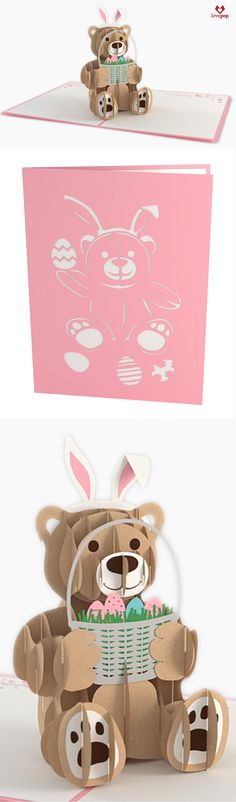 Happy Easter! Hide a paper art Easter Bunny Bear 3D pop up card in their Easter basket alongside some chocolate, of course. #BunnyBear #HappyEaster