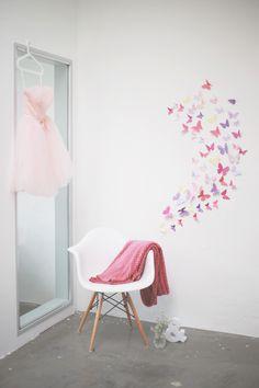 Schmetterling aus Tonpapier, Wandschmuck DIY