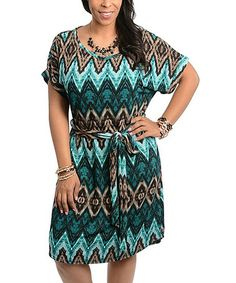 Look what I found on #zulily! Teal & Brown Tribal Dress - Plus #zulilyfinds