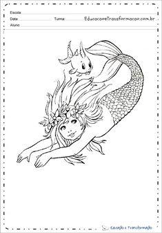 Desenhos da Iara para colorir e imprimir - Sereia Iara para pintar Moose Art, Animals, Mermaids, Drawings, Drawing S, Animales, Animaux, Animal, Animais