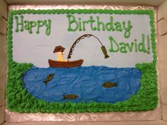 Fisherman Cake birthday cake for a fisherman who requested a fisherman on a pond, fish in the pond and a fish on the hook. TFL!