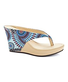 Another great find on #zulily! Blue Geometric Thong Wedge by Henry Ferrera #zulilyfinds