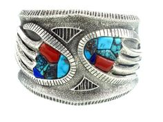 Philander Begay, Coral, Turquoise Inlay Bear Claw Sterling Bracelet, Navajo