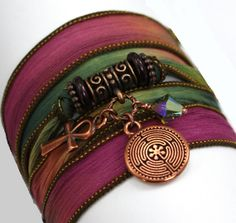 Hand Dyed Silk Wrap Bracelet  Dragon's Breath by anjalicreations  #hvnyteam