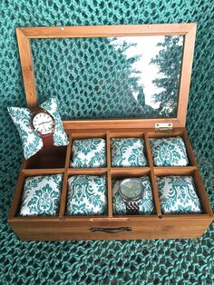 Watch Box Watchbox Turquoise Blue Floral Paisley by GypsieStitch