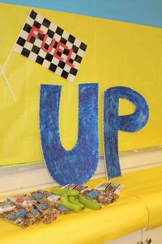 Fuel UP day for Staff/Teacher Appreciation week - Decor in the staff lounge along with healthy snacks to Fuel UP on.