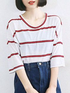 Shop Red Stripe 3/4 Sleeve Dipped Hem Loose T-shirt from choies.com .Free shipping Worldwide.$15.99