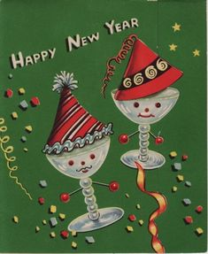 vintag christma, greet card, year eve, new years