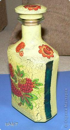 Itens de decoração Decoupage cracelures garrafas Mais garrafas de vidro decoupage Guardanapos Pintura Foto 2