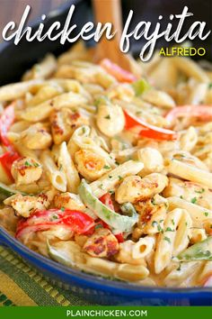 Chicken Fajita Alfredo - ready in 15 minutes! All the flavors of fajitas tossed with pasta and an easy homemade Alfredo sauce. Chicken onion, bell pepper, fajita seasoning, heavy cream, pasta and parmesan cheese. Everyone loved this! It has already been requested for dinner again! No prep and ready in 15 minutes. GREAT weeknight meal! #pasta #chicken #mexican #alfredo