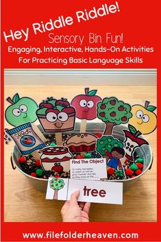"Sensory Bin Activities! These ""Hey Riddle Riddle"" Sensory Bin Riddles are going to be so much fun during fall or apple themed units. This set focuses on language skills, making inferences, identifying things relating to apples, apple themed vocabulary and matching a word to a picture. Apple Activities, Autumn Activities, Hands On Activities, Infant Activities, Preschool Themes, Classroom Activities, Classroom Management Tips, Making Inferences, File Folder Games"
