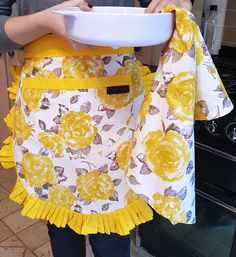 Brighten your kitchen with these yellow and floral apron and tea towel. Our golden/mustard collection available at raggedrose.com