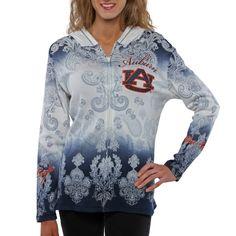 Auburn Tigers Ladies Dip Dye Full Zip Hoodie - White/Navy Blue