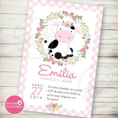 Cow Birthday Parties, Girls 3rd Birthday, Cowgirl Birthday, Birthday Party Invitations, Christening Invitations Girl, Girl Christening, Farm Animal Birthday, Baby Party, First Birthdays