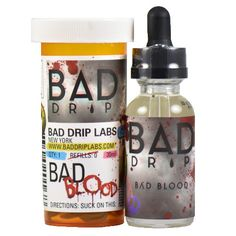 Bad Drip E-Juice Bad Blood - Crystalized blueberry extraction, spattered with the blood of a pomegranate, hit off with a trace vanilla dusting.