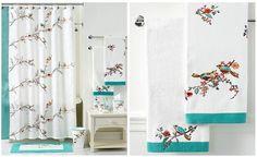 Cortina de ducha y juego de toallas con pájaros
