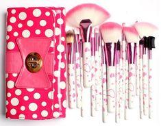 18 Piece Makeup Brush Set In Bow-Knot Polka Dot Pink Bag