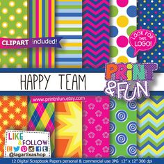 Etsy :: Your place to buy and sell all things handmade Digital Scrapbook Paper, Papel Scrapbook, Printable Scrapbook Paper, Digital Papers, Kids Patterns, Paper Patterns, Pattern Paper, Blog Banner, Birthday Party Invitations
