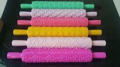 SunJas Farbenfrohe Kunststoff Struktur-Teigrollen mit Muster- 6er Set- Tortenverzierung Backen