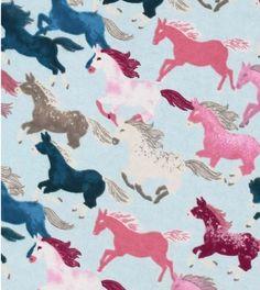Wild Horses Running on Blue Background Flannel Pajama Pants, Horse PJ Pants, Horse Pajamas, Lounge Pants, Sleep Bottoms