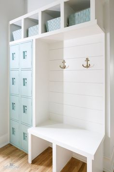 """Mudroom with turquoise lockers painted in """"Sherwin Williams Waterscape"""". Mudroom locker painted in Sherwin Williams Waterscape. Mudroom with turquoise lockers painted in """"Sherwin Williams Waterscape"""". Armoire Entree, Entryway Storage, Entryway Decor, Entryway Ideas, Entry Foyer, Wall Decor, Wall Art, Nautical Home, Nautical Style"""