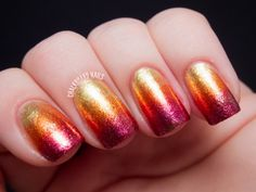 metallic sunset ombre nail art