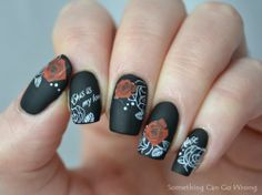 Black, matte, waterdecals nail art