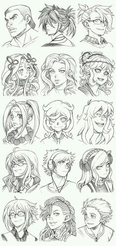 Manga Drawing Tips 151208 - Headshot Commissions Sketch Dump 12 by Runshin on DeviantArt - Manga Drawing, Manga Art, Drawing Sketches, Art Drawings, Drawing Tips, Drawing Ideas, Drawing Hair Tutorial, Hair Reference, Drawing Reference