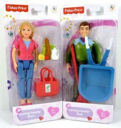Fisher Price Loving Family Dollhouse Caucasian MOM & DAD ~ Groceries Wheelbarrow #FisherPrice