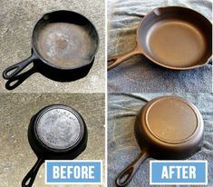 Cleaning the cast-iron frying pans Diy Home Cleaning, Household Cleaning Tips, House Cleaning Tips, Spring Cleaning, Cleaning Hacks, How To Clean Silverware, Cast Iron Frying Pan, Frying Pans, Oven Cleaner