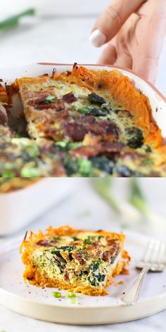 A healthier quiche made special with a sweet potato crust, bacon, kale and mushrooms. this gluten free breakfast casserole is perfect for a holiday, Dairy Free Recipes, Paleo Recipes, Real Food Recipes, Cooking Recipes, Paleo Food, Cooking Tips, Recetas Whole30, Healthy Quiche, Gourmet