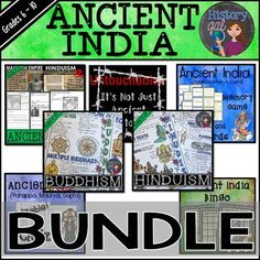 This money saving bundle includes all of History Gal's Ancient India products. You'll receive Ancient India PowerPoint and Guided Notes {Harappa, Maurya, Gupta}, Ancient India Memory Game and Flashcards {Harappa, Maurya, Gupta}, Ancient India Editable Quiz {Harappa, Mauryan, Gupta}, Modern Day Untouchables or Dalits, Ancient India Bingo, Buddhism Doodle Notes, and  Hinduism Doodle Notes. Great for your 5th, 6th, 7th, 8th, 9th, and 10th grade classroom or homeschool students!